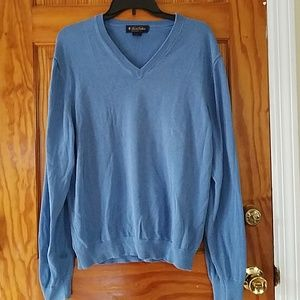 Brooks Brothers V Neck Sweater Blue Cotton/Silk